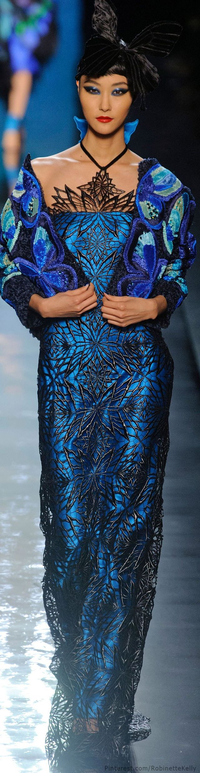 Peacock and Butterfly dress. Jean Paul Gaultier Haute Couture | S/S 2014