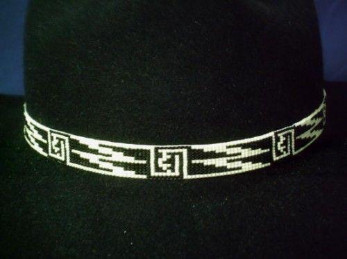 Black an Bone Geometric Hatband Native American Design beaded hat band | ajwhatbands - Accessories on ArtFire