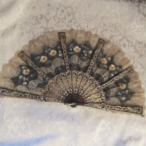 Hand Painted Fans From Spain | Vintage Spanish lace & fabric hand painted fan with faux tortoise ...