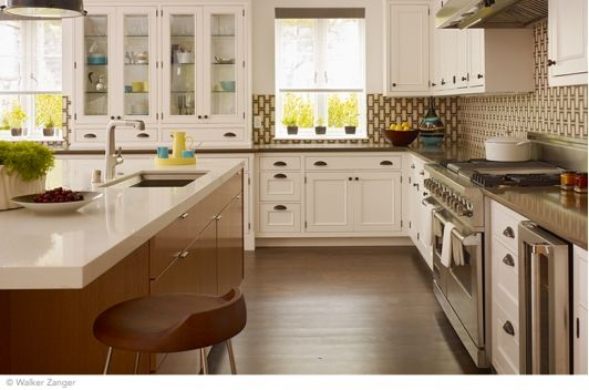 Large kitchen desugb with island and stools.