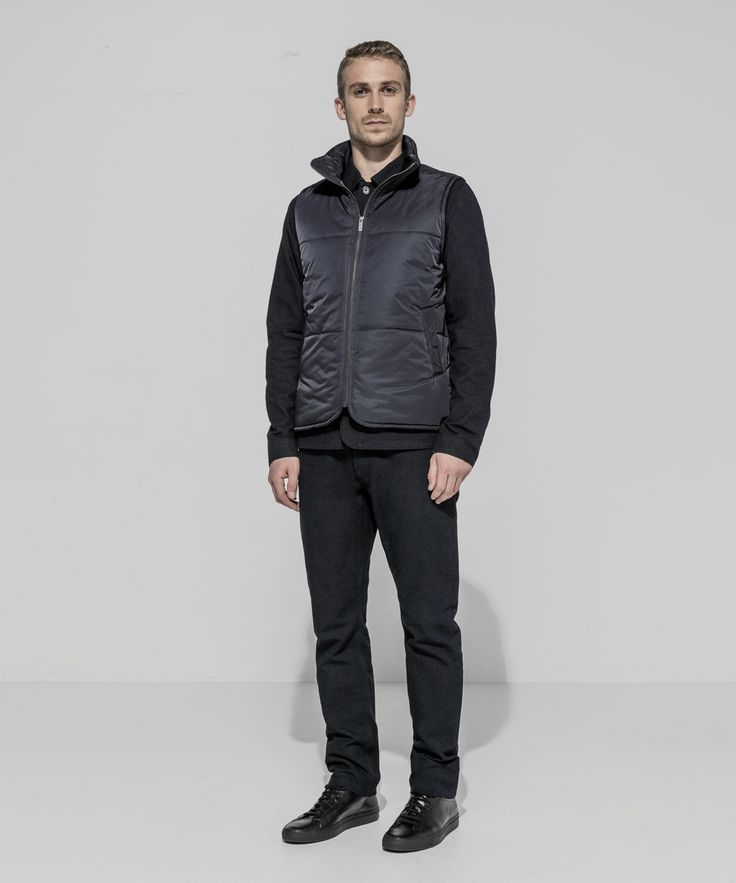 Waterproof Taffeta Twill Puffer Vest (Midnight) Cone Mills Recycled Oxford Canvas Patch Pocket Chore Jacket (Dark Indigo) Cone Mills Recycled Oxford Canvas Workman Pant (Dark Indigo)