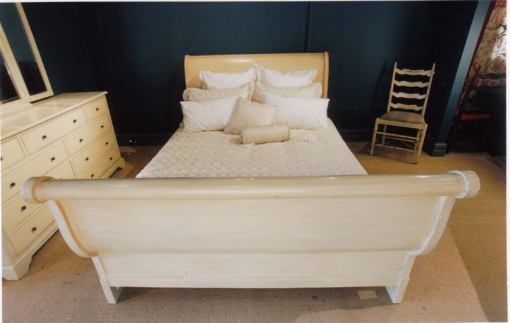 Sleigh Bed - French Oak -  Lacquer Finish