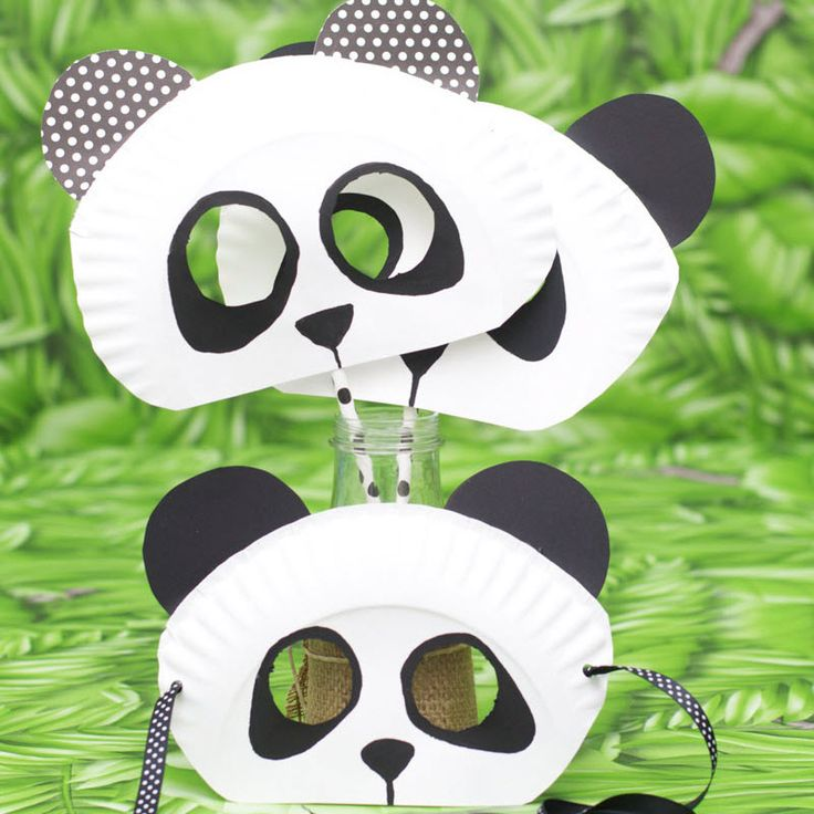 Masque de panda en assiette en carton                                                                                                                                                                                 Plus