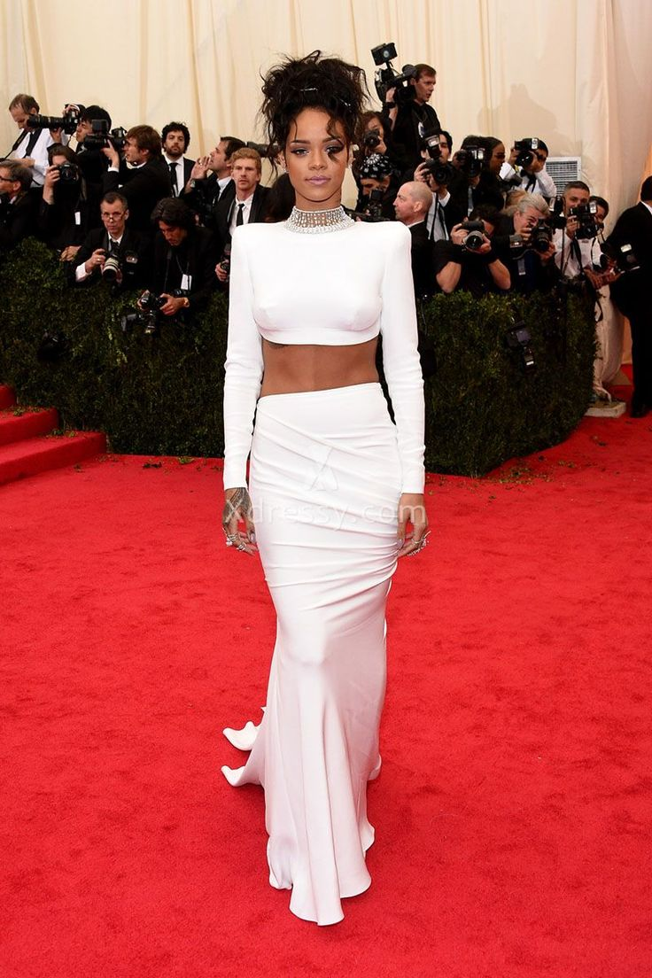 Rihanna White Long Sleeve Two-piece Elegant Mermaid Prom Dress Met Gala 2014