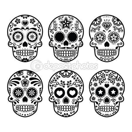 Mexican sugar skull, Dia de los Muertos icons set — Ilustração Stock #43434623