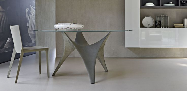 Modern Round Glass Dining Table Molteni Arc 02 Dining