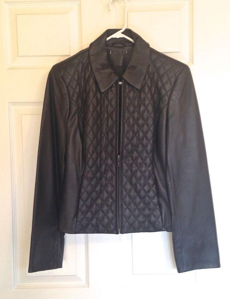 A Ladies Black #Leather Jacket, Size M, Slash pockets, Fabric Lined, Solid Color via #AbundantArtsVintage