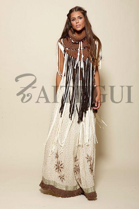 Falda cruda larga salpicada con detalles plateados - 485,00€ : Zaitegui - Moda y ropa de marca para señora en Encartaciones