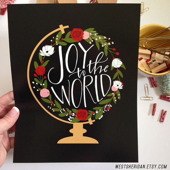 Joy to the World Holiday Print Calligraphy Print by WestSheridan