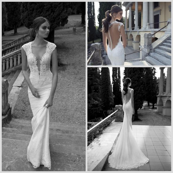Discount 2014 Sexy Berta Bridal Mermaid Wedding Dresses Deep V Neck Cap Sleeve Sheer Appliques Lace Backless Back Covered Button Formal Gowns Online with $179.9/Piece | DHgate