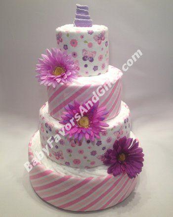 Pink Butterflies Diaper Cake