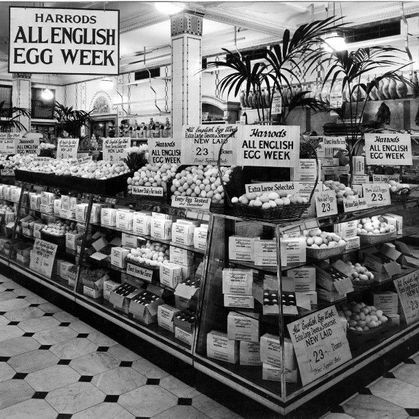 harrods food halls in the 1920s all english egg week london vintage views pinterest. Black Bedroom Furniture Sets. Home Design Ideas