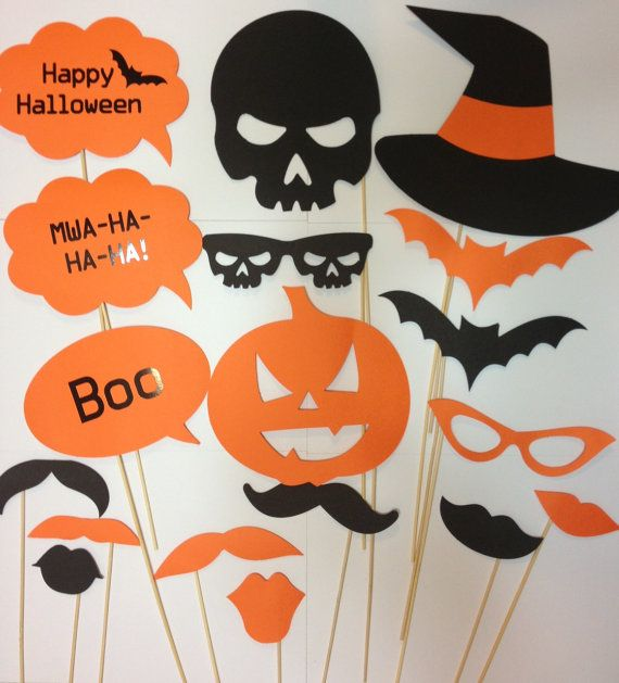 18pcs Photo Booth Props Halloween mustaches on a by madforads