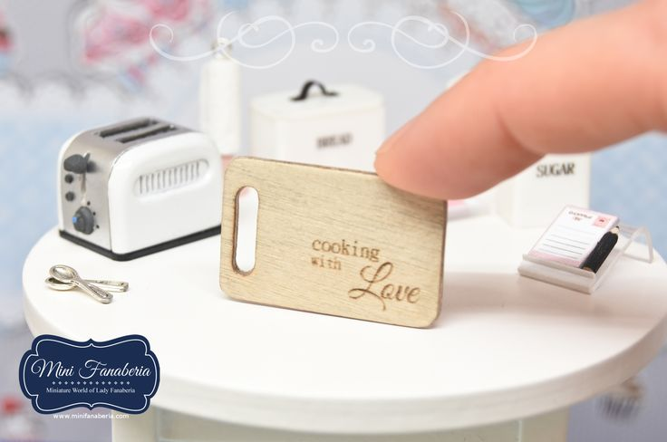 "Miniature wooden Cutting Board with engraved sign ""Cooking with LOVE"""