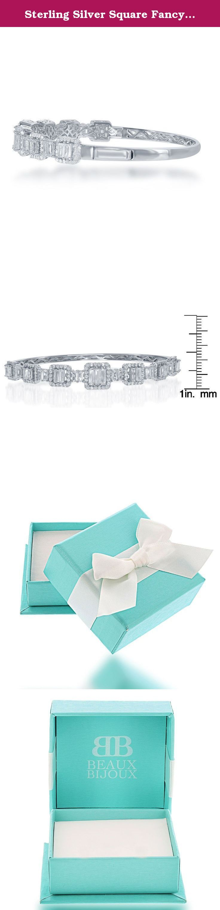 Sterling Silver Square Fancy CZ Hinged Bangle. A chic and trendy bracelet.