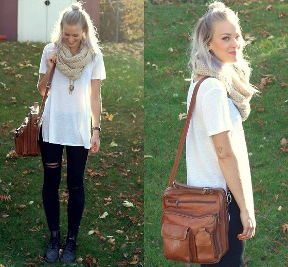 Silence + Noise White Tee, Noisy May Black Jeans, Dr. Martens Doc Martens, Vintage Leather Carrier Bag
