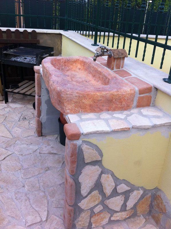 Lavello da giardino Tovel su misura mattone. Località: Zagarolo (Roma)