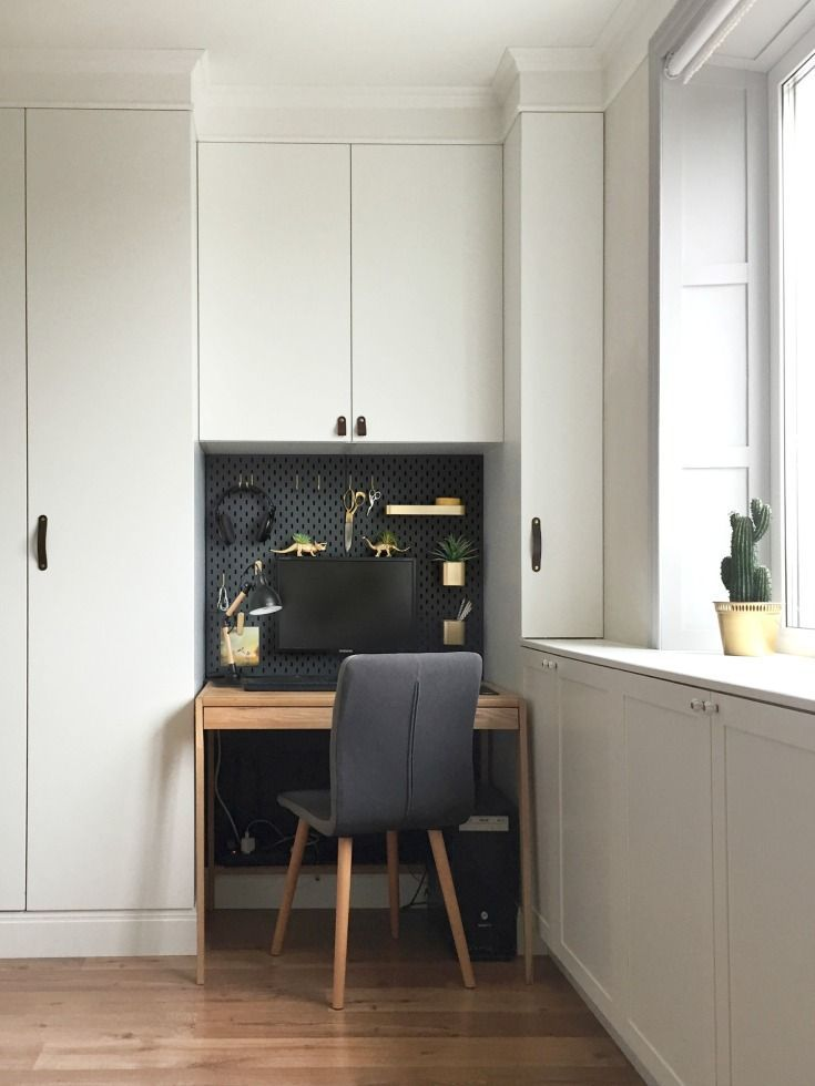Ikea Skadis Hack For A Mini Office Nook Ikea Hack Mini Office Small Space Diy