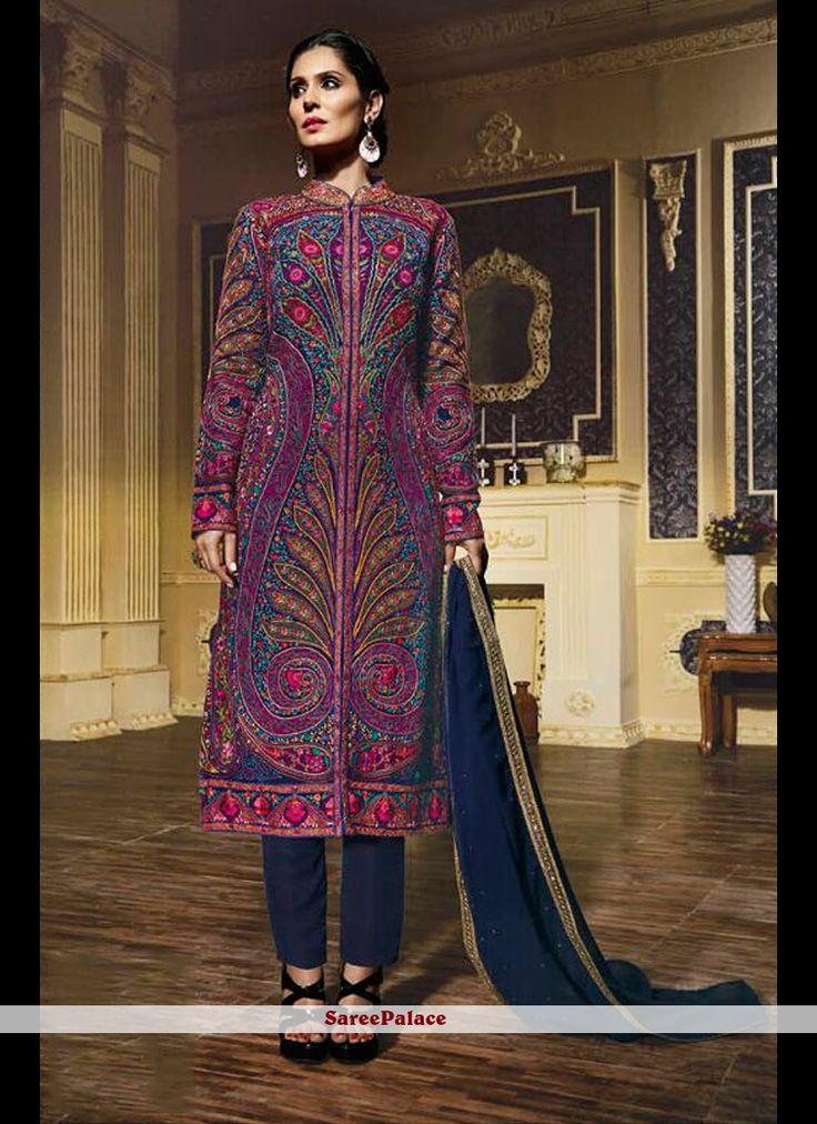 Delectable Multi Colour Embroidered Work Georgette Designer Suit
