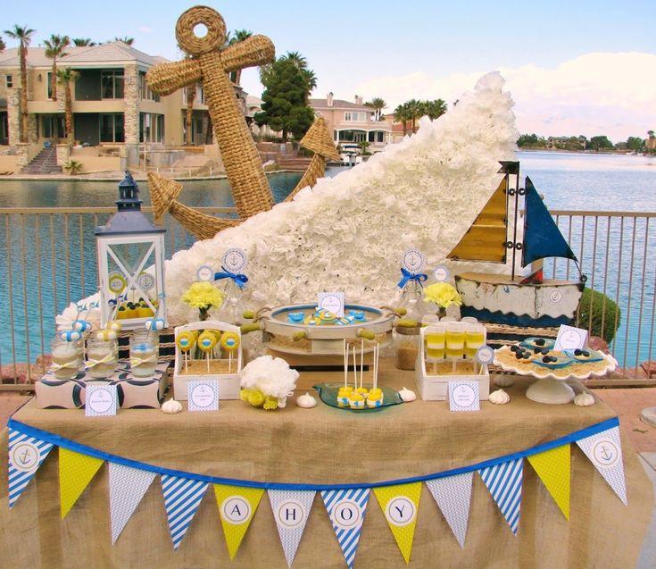 baby shower sailboat theme ideas | Nautical Baby Shower, Beach Theme Shower