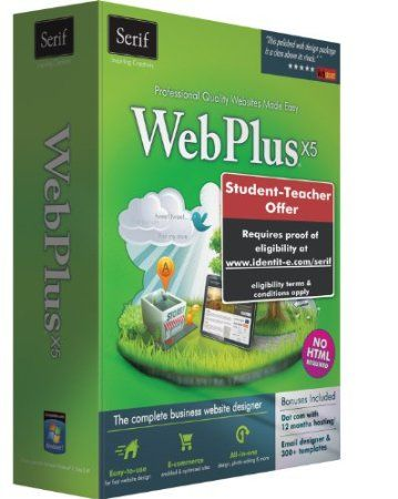 Serif WebPlus X5--Professional-Quality Web Sites Made Easy  WebPlus X5 is the ultimate web-site design software for small businesses, organizations, and home users. You don't need to know any HTML--drag-and-drop simplicity, an intuitive interface, and powerful tools help you design sites easily, even if you've never done it before.  Price: $60.00