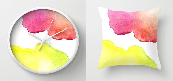 Wall Clocks and Throw Pillows by Amee Cherie Available here: http://society6.com/ameecheriepiek/watercolor-3bn#1=45