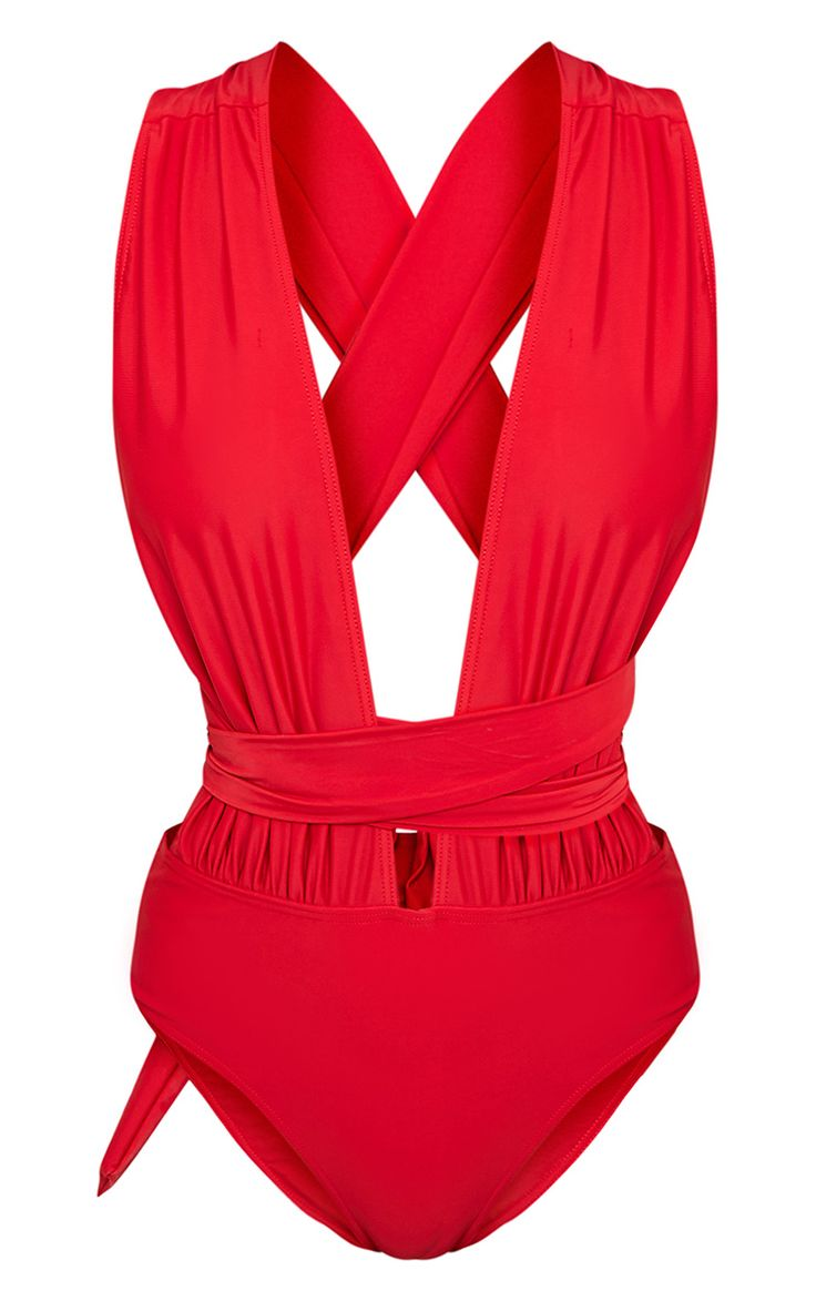 Red Multiway Swimsuit Work sexy summer vibes in this deep plunge swimsuit, featuring multiwa...