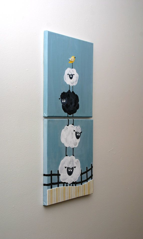 Acrylic Painting - Black Sheep - two 12x12 canvas art  set for children on Etsy, $50.00