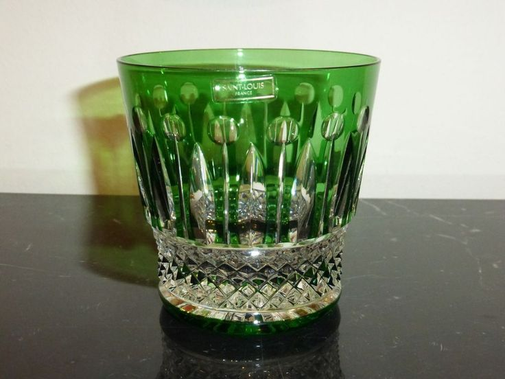 ST LOUIS CRYSTAL TOMMY PATTERN OLD FASHIONED GREEN GLASS TUMBLER