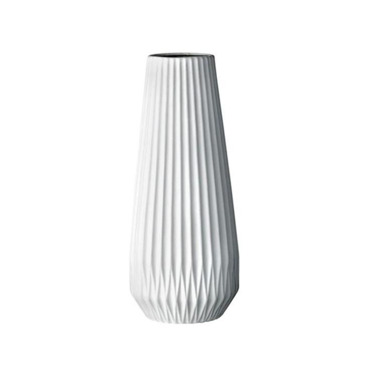 Biały wazon karbowany - bardzo duży