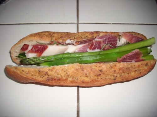 ... Bucket with jamon serrano, asparagus, cheese, cucamber and rosemary