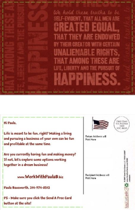 Make money mailing postcards free