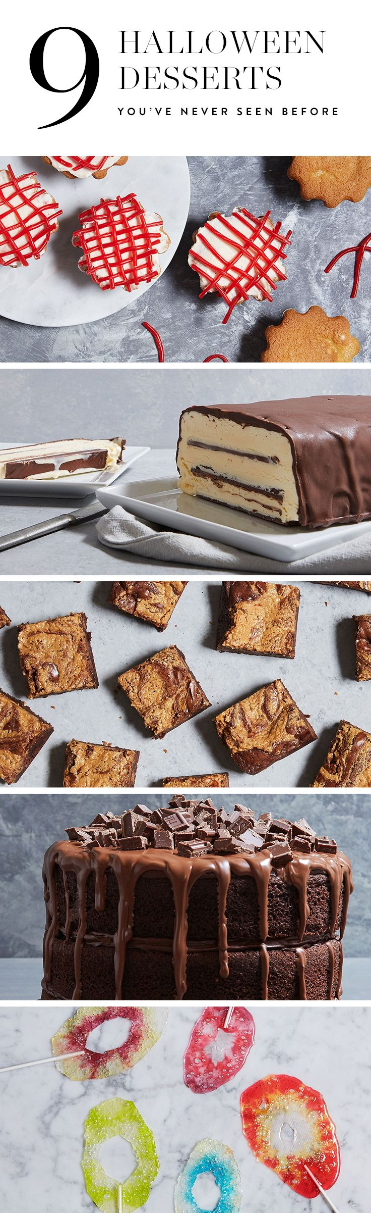 Looking for a festive way to bring Halloween to life? These 9 desserts incorporate your favorite candy, from Jolly Rancher candy apples, to Reese's peanut butter brownies. Get the recipes and try these at home.