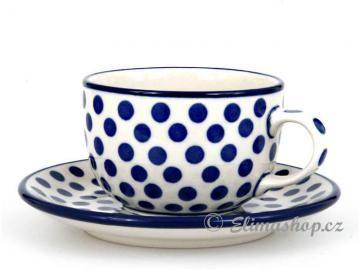 šálek s podšálkem 0,2 l - ELIMAshop.cz teacup 0,2 l  Blue dots - One of our favorite patterns Simple and beautiful cup . Handmade Polish Pottery from Boleslawiec .