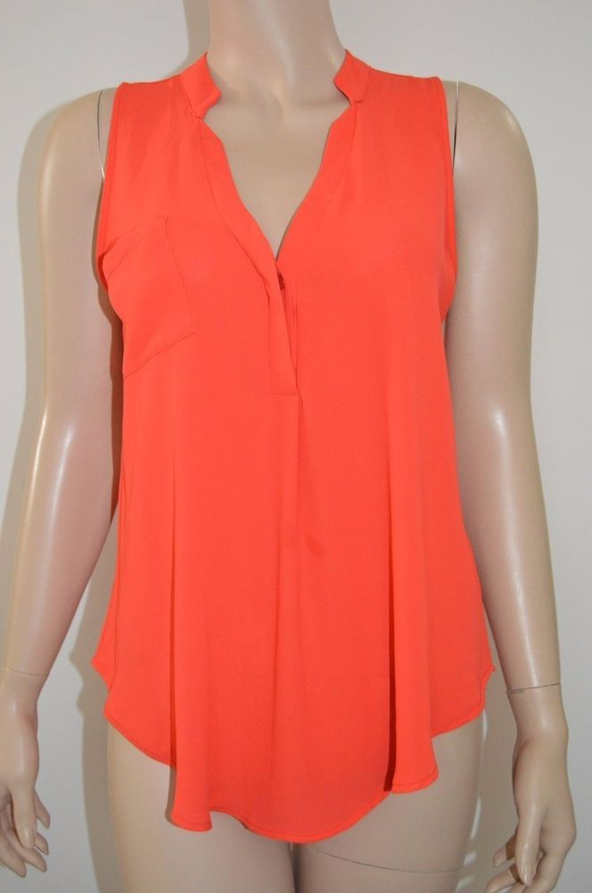 Lush S Sleeveless top Dark Bright Orange chest pocket one button accent blouse  #Lush #Blouse #Casual
