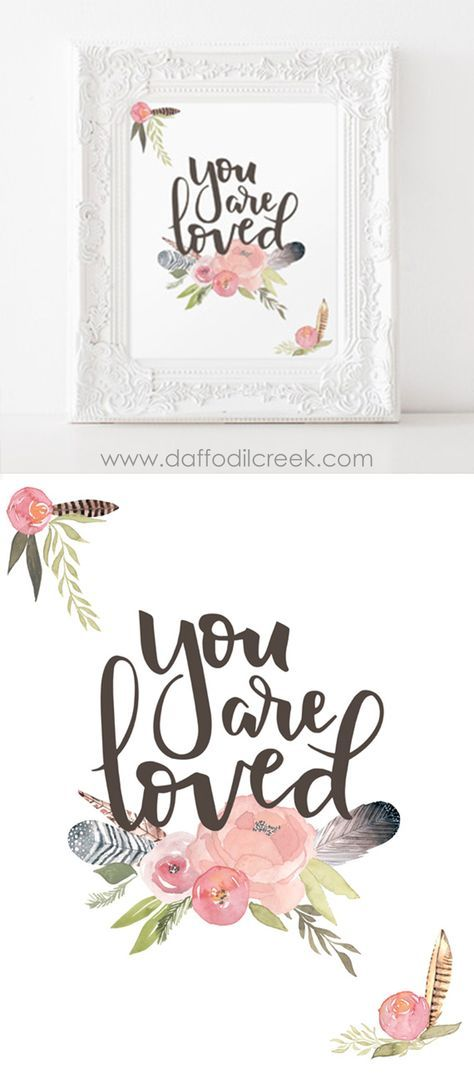 "Spread some love with this sentimental and sweet nursery print! The phrase ""You are loved"" is hand lettered and paired with watercolor flowers and feathers. So sweet for a girls room or nursery!"