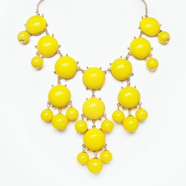 Yellow Bubble Necklace - gold chain bib necklace with dangling beads (15 CAD) ❤ liked on Polyvore featuring jewelry, necklaces, chain bib necklace, yellow bead necklace, yellow bib necklace, yellow bubble necklace and gold chain necklace