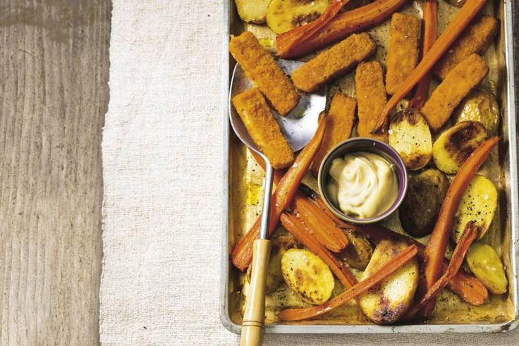 Kijk+wat+een+lekker+recept+ik+heb+gevonden+op+Allerhande!+Vissticks+met+wortel+van+de+plaat