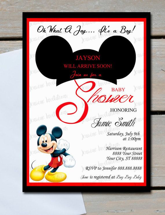 7 best mickey mouse baby shower images on pinterest mickey mouse mickey mouse baby shower invitations5x7printed baby shower filmwisefo Images