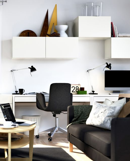 Small Compact Home Office design Ideas: Home Office In The Living Room With Storage
