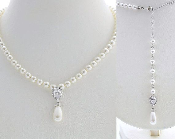 Wedding Pearl Necklace Bridal Jewelry Pearl by poetryjewelry