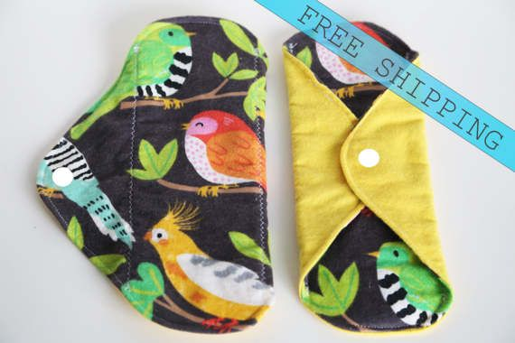 set of 2 7 Panty Liner Flannel Cloth Pad Mama Pad by MamaMelonCA