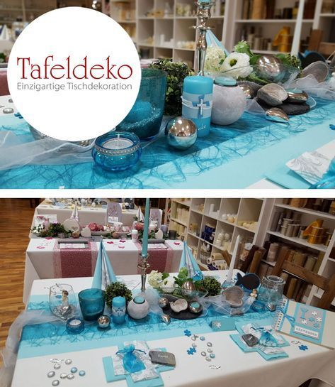 Table decoration Example of communion Confirmation in turquoise Puzzle pieces as a stre Table decoration Example of communion Confirmation in turquoise Puzzle pieces …