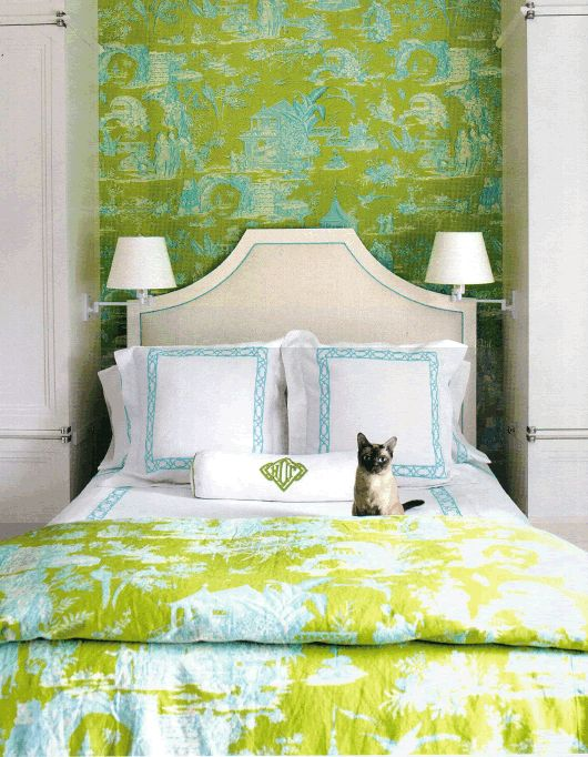 Colorful, traditional bedroom. Love the matching wallcovering and fabric....and the kitty cat! :) Designer: David Kleinberg via Architectural Digest.