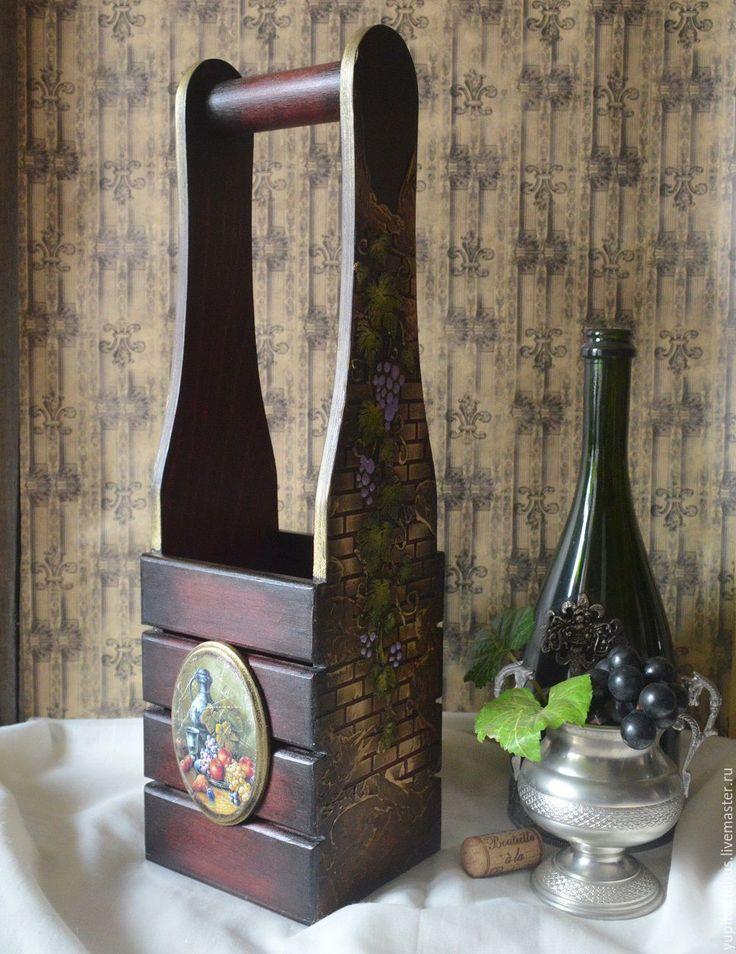 """Купить Короб для вина """"Кардинал"""" - коричневый, короб для кухни, виноград, вино, бутылка, роспись, Декупаж"""