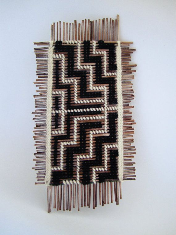 Tukutuku Tablet/ Maori/ Woven/ Wall Hanging/ Natural by OHANYC