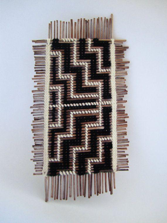 Tukutuku Tablet/ Maori/ Woven/ Wall Hanging/ Natural by OHANYC