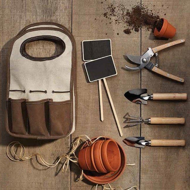 Sac de jardinnage - 4 outils et 2 signets pour jardiner chez soi - 29,95€