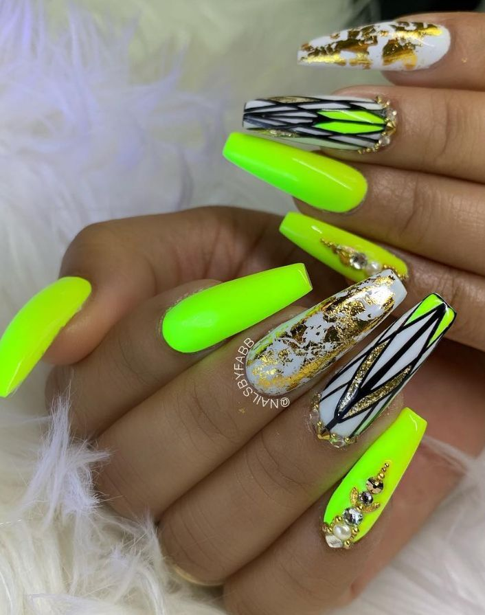 Yellow Green Coffin Nails Bling Coffin Nails Coffin Nails