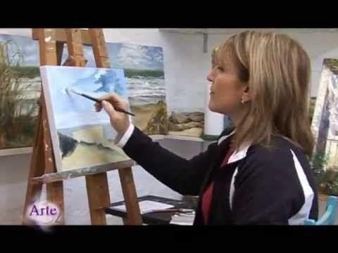 cielo y mar  !!!  clase 1 , explicacion incompleta , pero buena para aprender a pintar  el cielo